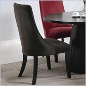 Coaster Amhurst Black Finished Dining Side Chair with Brown Upholstery