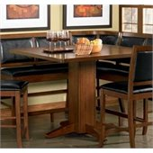 Coaster Lancaster Counter Height Pedestal Table in Distressed Dark Brown Finish