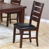 Coaster Imperial Ladder Back Side Chair with Upholstered Seat in Rustic Oak