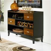 Coaster Boyer 3 Drawer Buffet Server in Two-Tone Cherry and Black