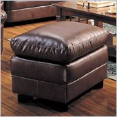 Coaster Harper Overstuffed Leather Ottoman in Rich Brown