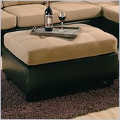 Coaster Harlow Two Tone Ottoman in Tan and Dark Brown Faux Leather