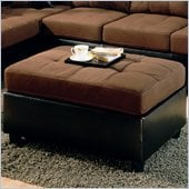 Coaster Harlow Ottoman in Chocolate and Dark Brown Faux Leather