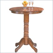 Coaster Woodlawn Round Pedestal Bar Table in Oak Finish