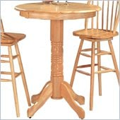 Coaster Woodlawn Round Pedestal Bar Table in Light Natural Wood Finish