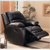 Coaster Faux Leather Rocker Recliner in Black