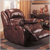 Coaster Faux Leather Rocker Recliner Chair in Brown