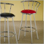 Coaster Cleveland Chrome Plated Bar Stool with Upholstered Seat in Red