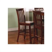 Coaster Pines Counter Height Slat Back Chair in Walnut