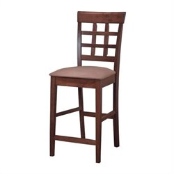 Coaster Hyde 24 Wheat Back Bar Stool with Fabric Seat in Walnut