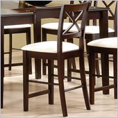 Coaster Pryor 24 Bar Stool with X Back & Fabric Seat in Cappuccino
