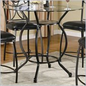 Coaster Monroe Counter Height Dining Table with Round Beveled Glass Top