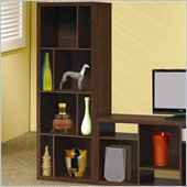 Coaster Bookcases Contemporary Asymmetrical Bookcase in Dark Oak