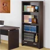 Coaster Papineau 4 Shelf Bookcase with Storage Drawer in Cappucino