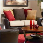 Coaster Lily Contemporary Love Seat w/ Pillow Back in Assorted Colors