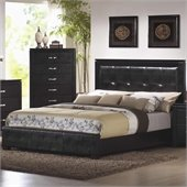 Coaster Dylan Faux Leather Upholstered Low Profile Bed in Black Finish