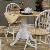 Coaster Damen Round Pedestal Drop Leaf Table in Natural and White