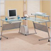 Coaster Wrightwood L-Shape Computer Desk in Silver