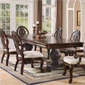 Coaster Tabitha Rectangular Double Pedestal Dining Table in Cherry