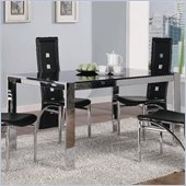 Coaster Broward Rectangular Dining Table with Tinted Glass in Silver