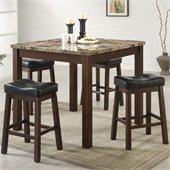 Coaster Sofie 5 Piece Marble Look Counter Height Dining Set in Cherry