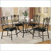 Coaster Altamonte 5 Piece Dining Set with Glass Top and Metal Base