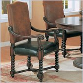 Coaster Riverside Upholstered Dining Arm Chair in Dark Wood Finish