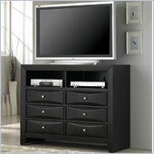 Coaster Briana Media Chest with Drawers and Shelves in Glossy Black