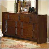 CoasterResin 7 Drawer Dresser in Warm Medium Brown Finish