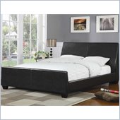 Coaster Queen Faux Leather Upholstered Bed in Dark Brown