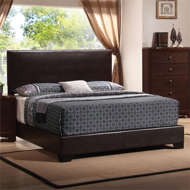 Coaster Conner Queen Faux Leather Upholstered Platform Bed in Dark Brown