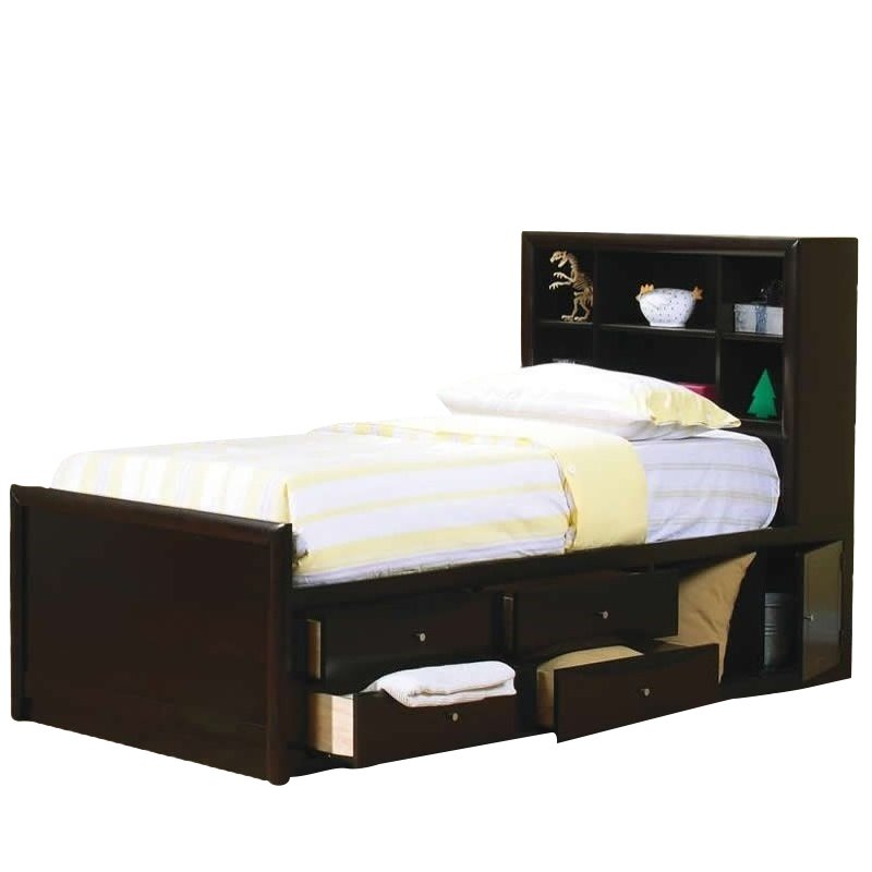 Coaster Phoenix Bookcase Storage Bed in Cappuccino Finish-Twin