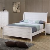 Coaster Selena Sleigh Bed in White Finish