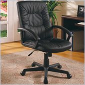 Coaster Office Chairs Casual Faux Leather Office Task Chair in Black