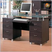 Coaster Decarie Glass Top Double Pedestal Desk in Cappuccino