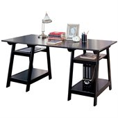 Coaster Desks Casual Double Pedestal Trestle Desk with Open Shelves in Black