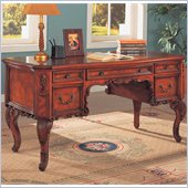 Coaster Desks Double Pedestal Desk w/ Carved Details in Cherry