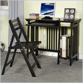 Coaster Desks Folding Computer Desk w/ Keyboard Tray & Chair in Black