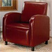 Coaster Accent Seating Vinyl Upholstered Arm Chair in Red