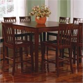 Coaster Pines Counter Height Dining Leg Table with Leaf in Walnut