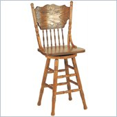 Coaster Mackinaw 24 Victorian Press Back Bar Stool in Oak