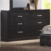 Coaster Dylan Faux Leather 6 Drawer Dresser in Black
