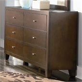 Coaster Lorretta Contemporary 6 Drawer Dresser in Dark Brown Finish