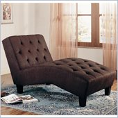 Coaster Accent Seating Brown Microfiber Chaise in Milk Chocolate