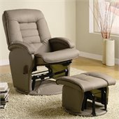 Coaster Recliners with Ottomans Glider Chair with Ottoman in Tan Vinyl