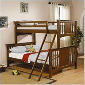 Coaster Twin over Full Bunk Bed in Dark Cherry Finish