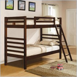 Coaster Twin over Twin Bunk Bed in Dark Cherry Finish