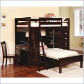 Coaster Workstation Twin over Twin Loft Bunk Bed in Cappuccino Finish