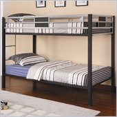 Coaster Morrell Twin over Twin Metal Bunk Bed in Black and Silver