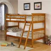 Coaster Twin over Twin Bunk Bed in Distressed Pine Finish